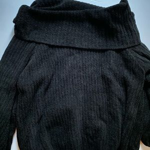 Off Shoulder Black Chenille Sweater Medium